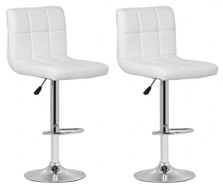 Pair of 2 Milan White Faux Leather Padded Seat Bar Stools
